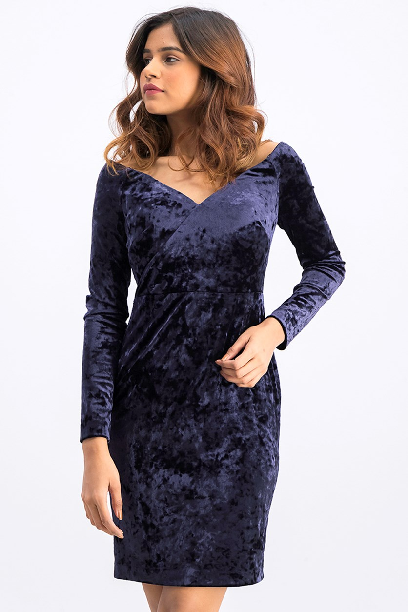 Velvet Off-Shoulder Sheath Dress, Navy