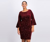 Women's Burnout Velvet Bell-Sleeve Dress, Rosewood