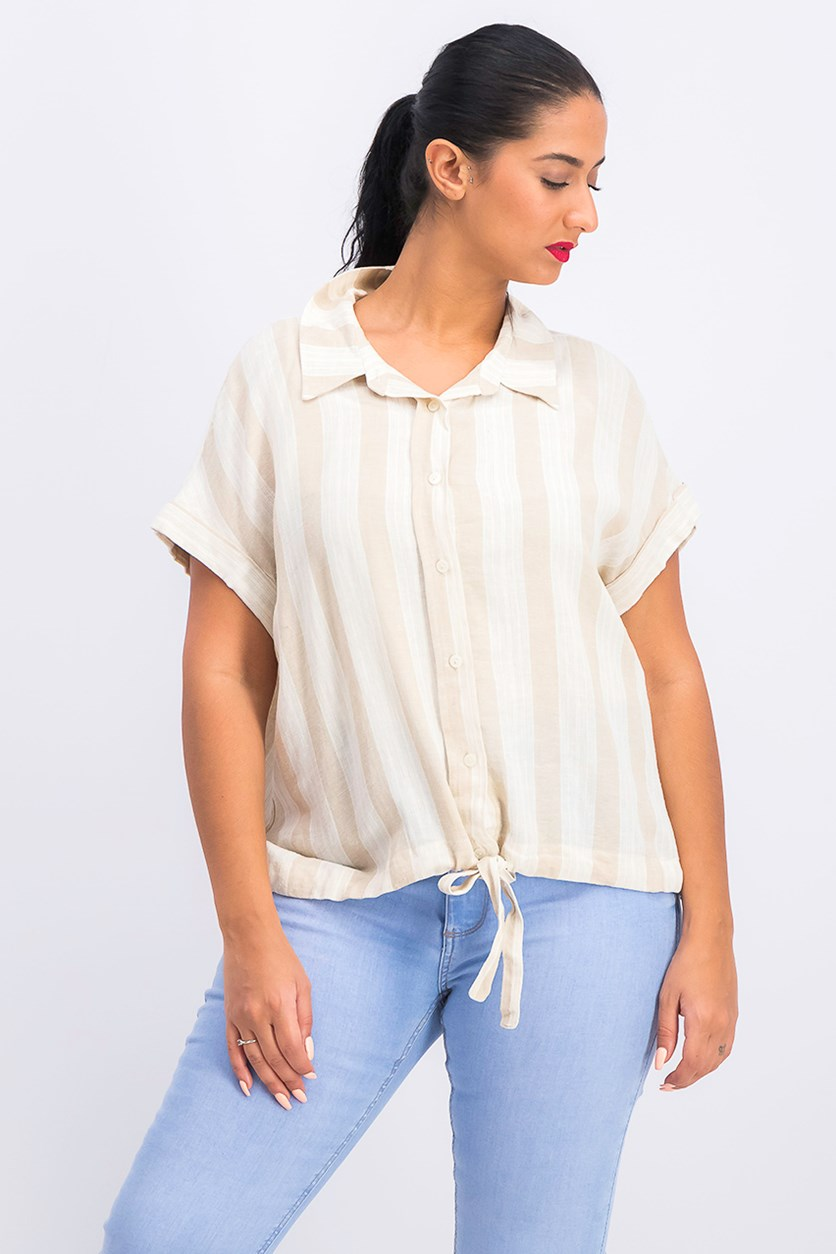 Women's Linen Blend Striped Button-Down Top, Beige