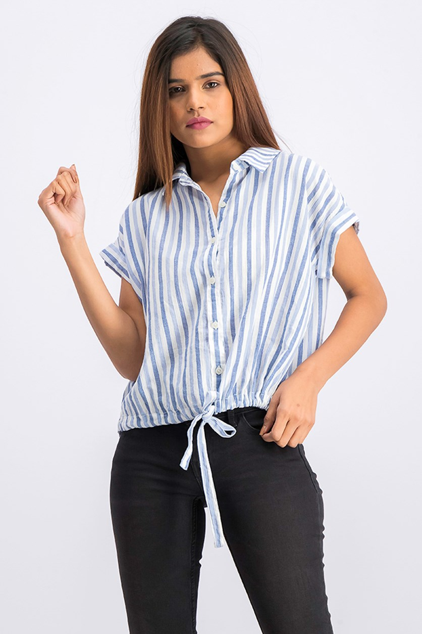 Womens Borrego Striped Rolled Sleeves, Blue