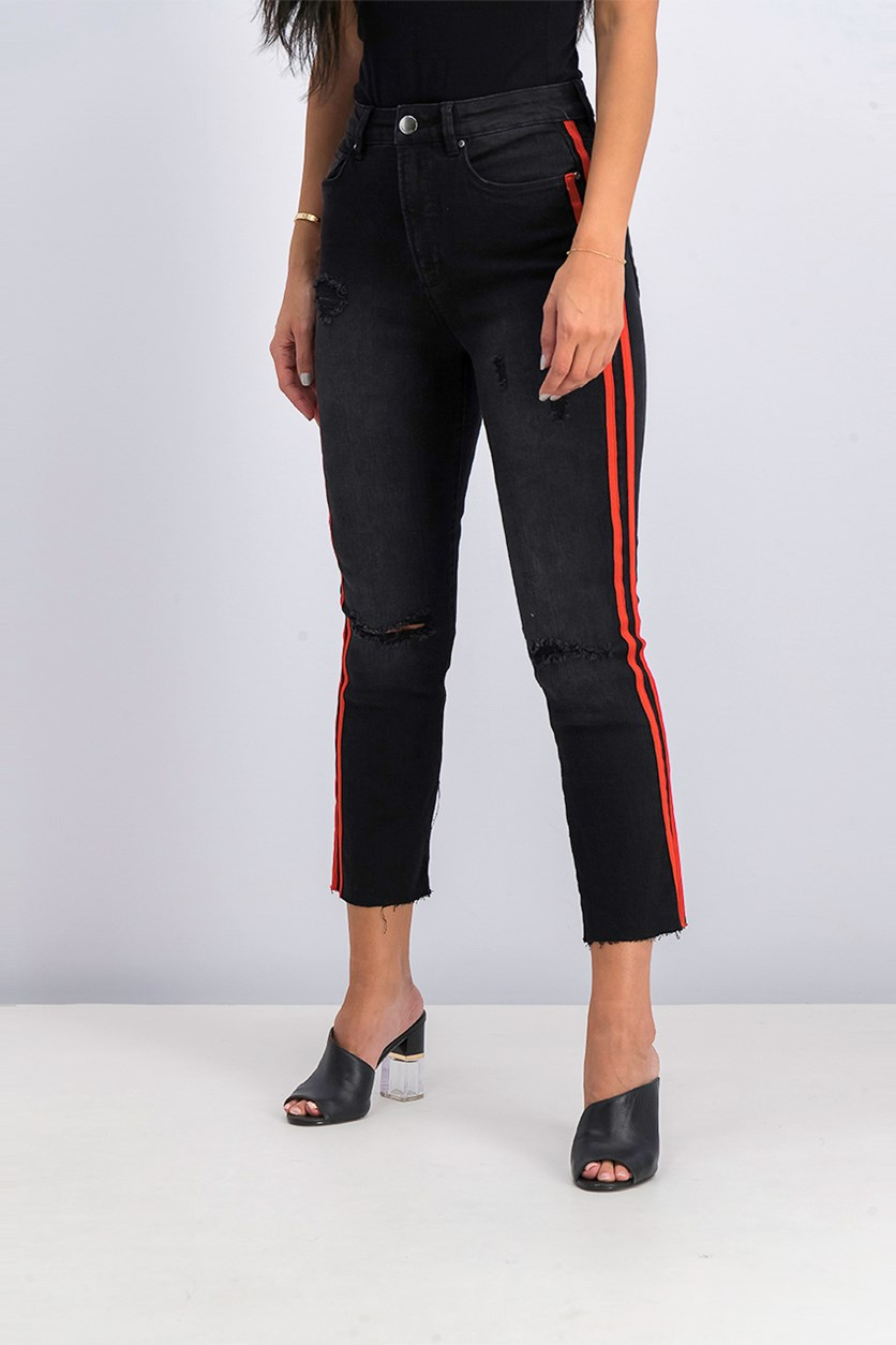 Juniors Ripped Cropped Jeans, Black