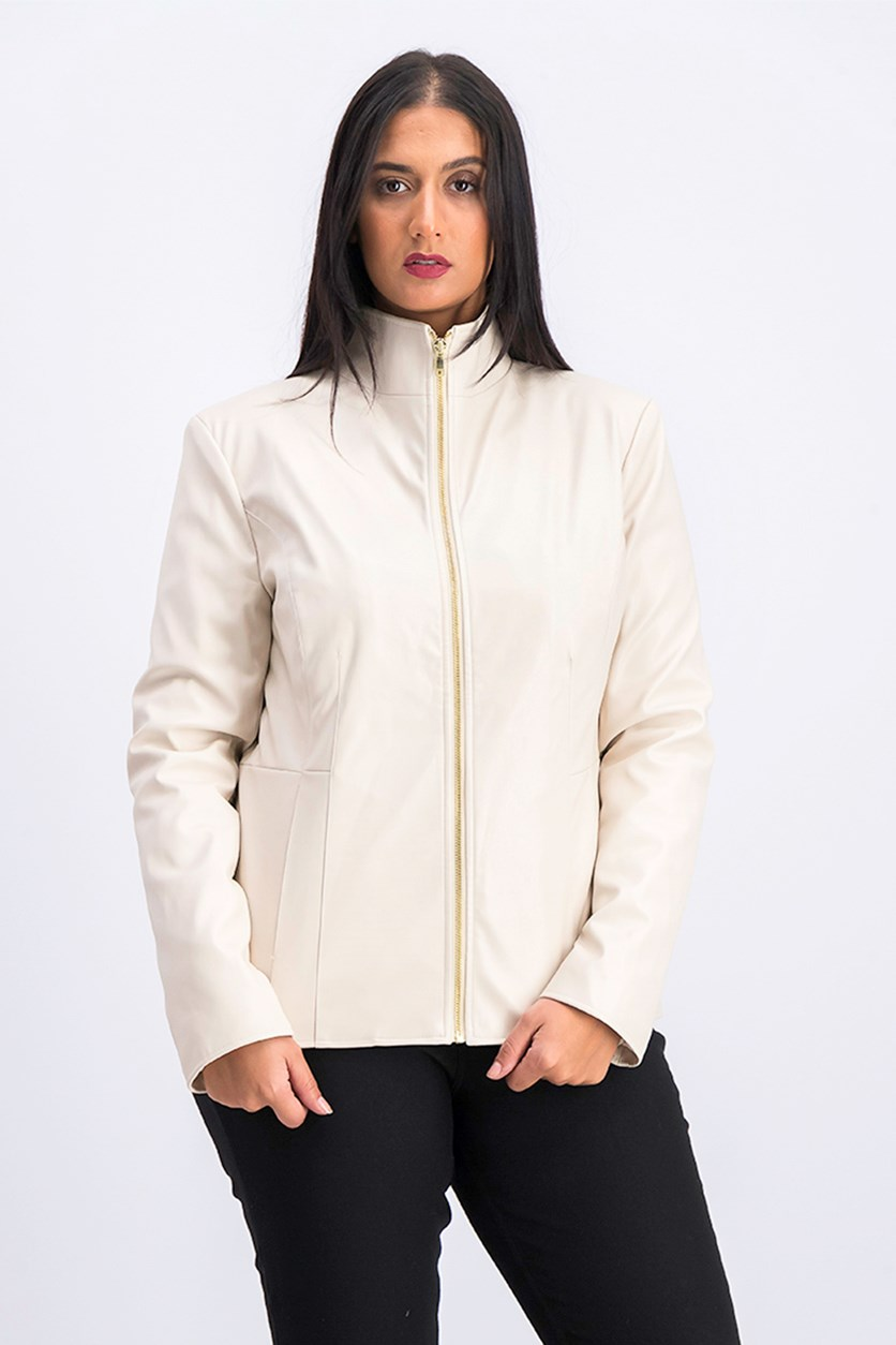 Women's Wing Collar Faux Leather Jacket, Cream
