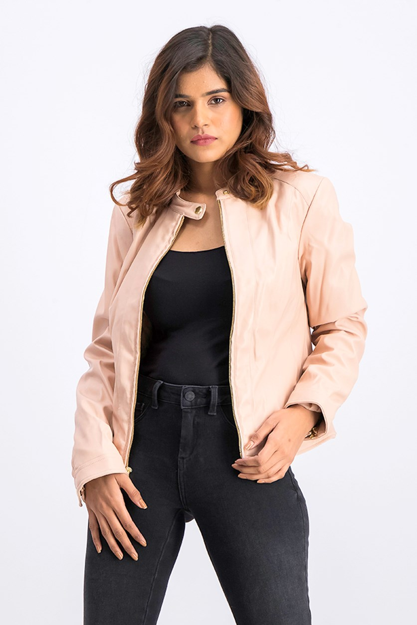 Women's Banded Collar Faux Leather Zip Jacket, Blush