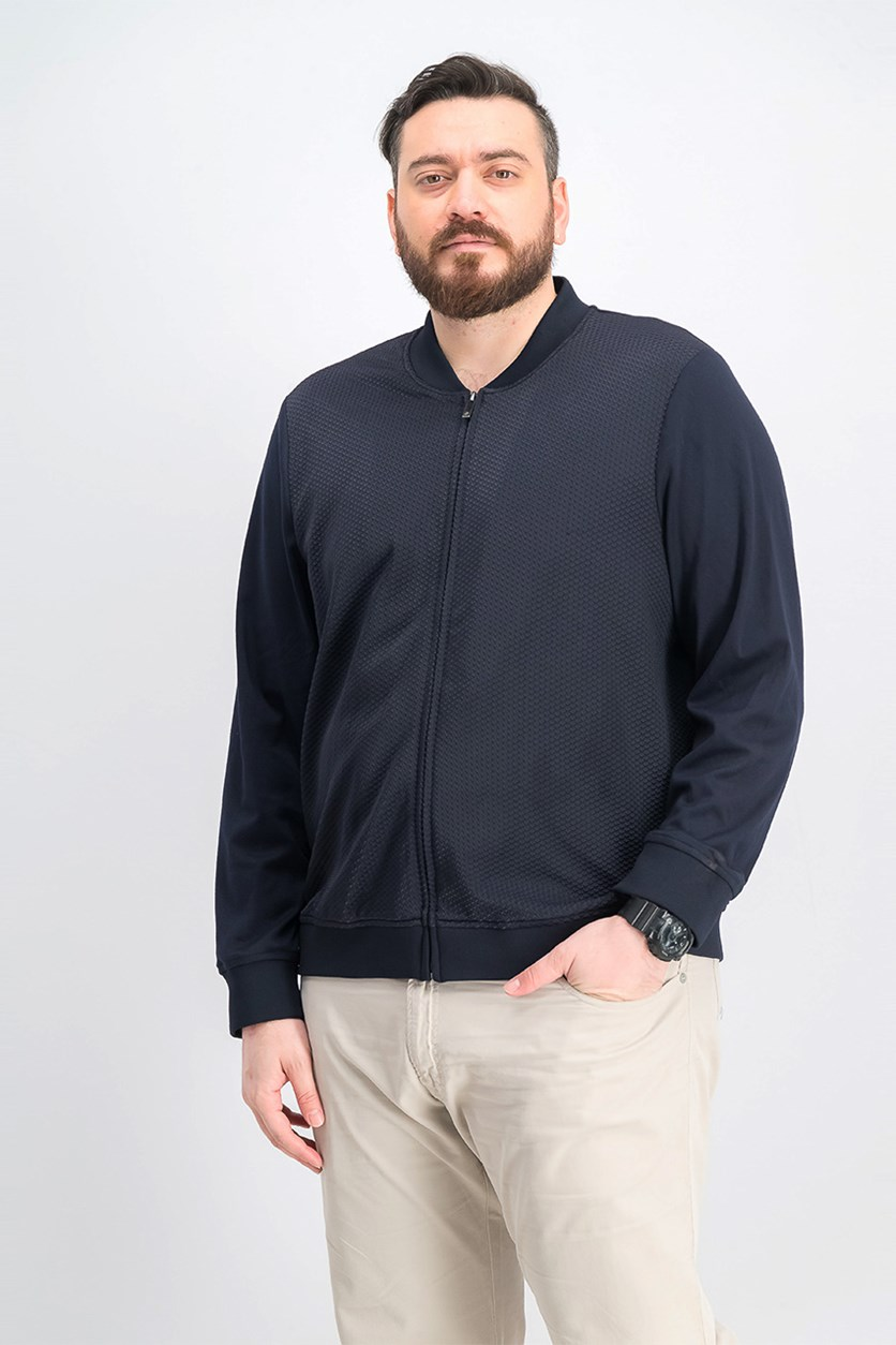 Men's Mix-Texture Knit Jacket, Navy