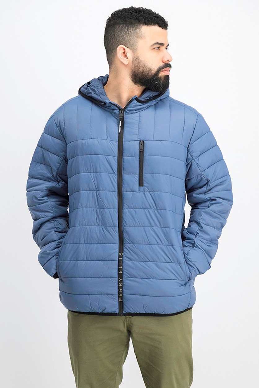 Men Packable Jacket, Slate Blue