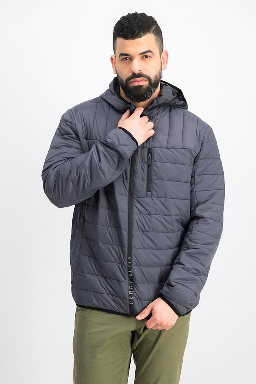 Men Packable Jacket, Charcoal/Grey