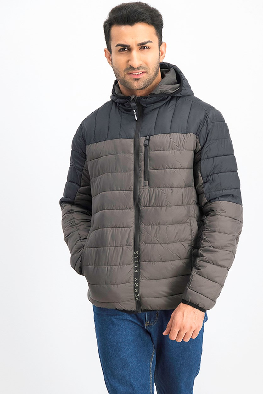Men Packable Jacket, Gunmetal