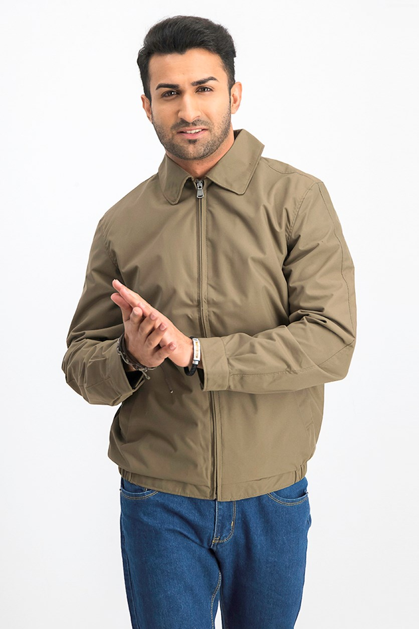 Men Microfiber Jacket, Taupe/Olive