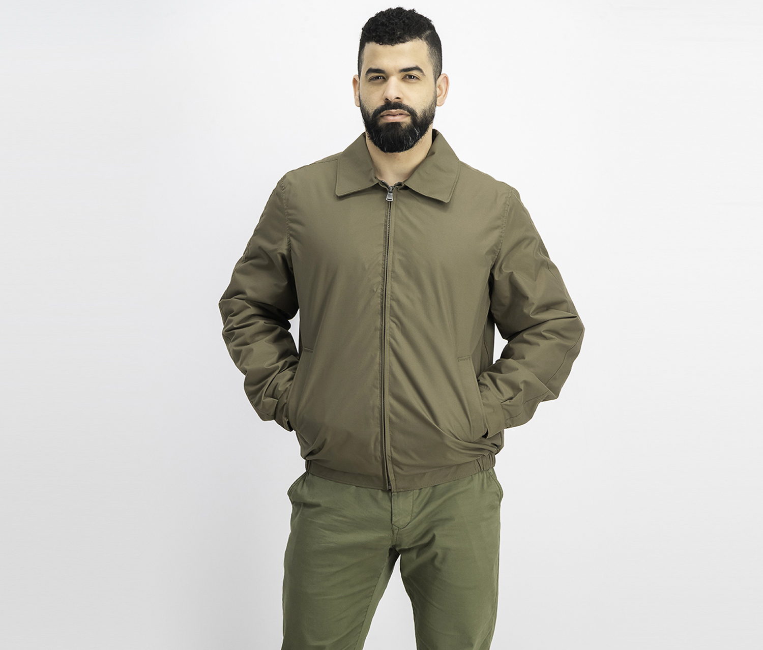 Men Microfiber Quilted Jacket, Taupe/Olive