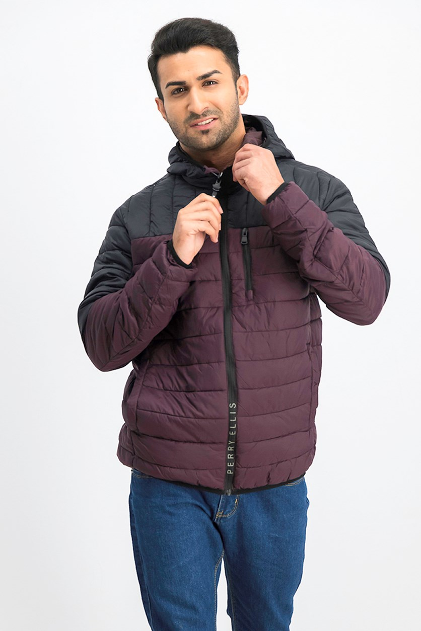 Men Packable Jacket, Port/Black