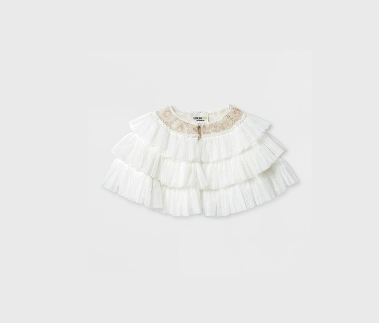 Girls' Tulle Ruffle Capelet Top, Gallery White