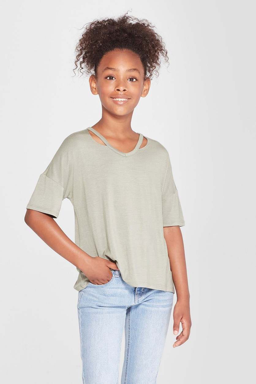 Girls' Cut Out Short Sleeve T-Shirt, Seaspray