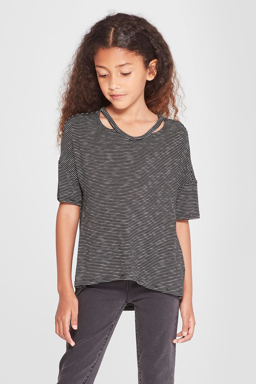 Girls' Cut Out Short Sleeve Top, Black/White