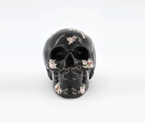 Glossy Skull Coin Bank With Floral Pattern, Black