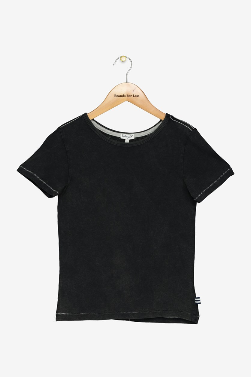 Kid's Boys Short Sleeve Top, Black