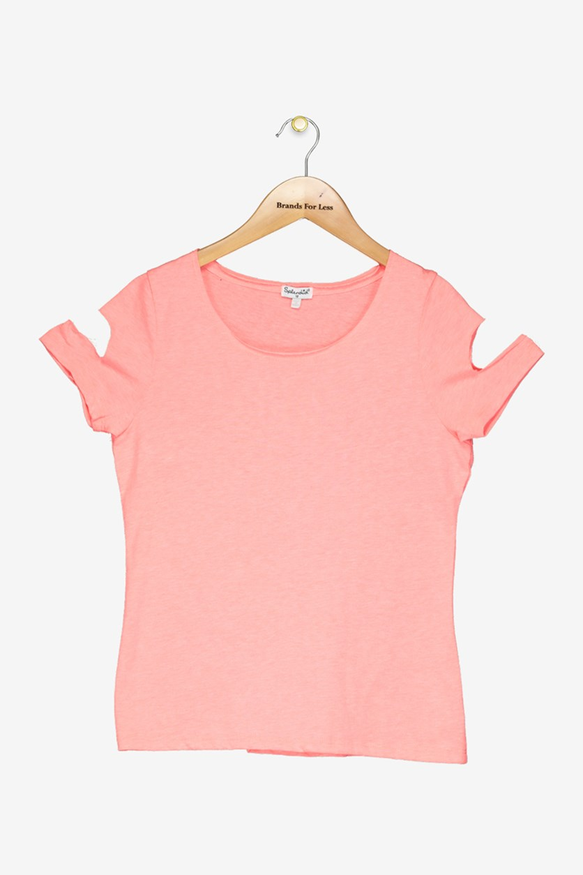 Girl's Cut Out Top, Electric Pink