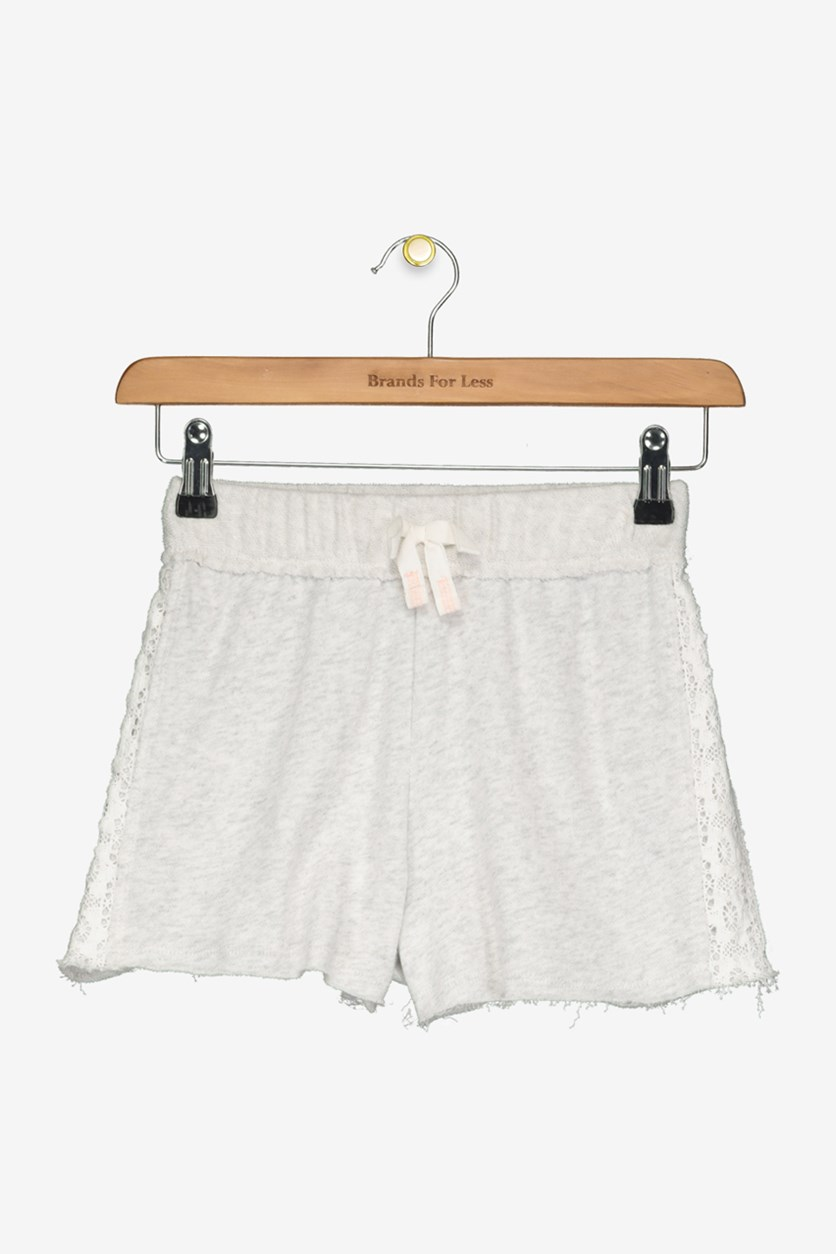 Girls' French Terry Shorts with Lace Panels, Grey