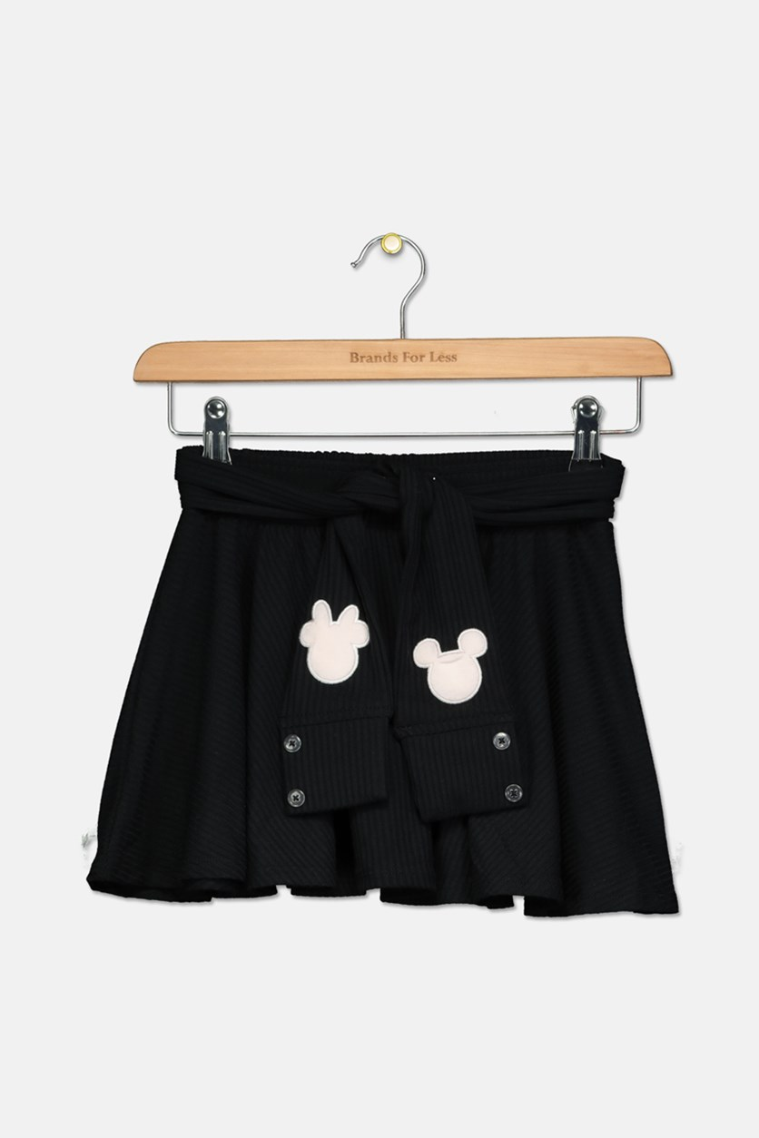 Little Girls Mickey Minnie Skirt, Black