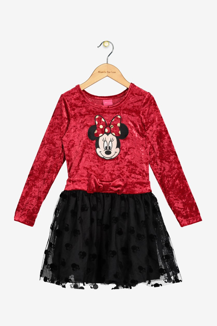 Little Girls Minnie Mouse Crushed Velvet Dress, Rocker Red