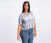 AC/DC Women's Graphic Top, Wash Gray