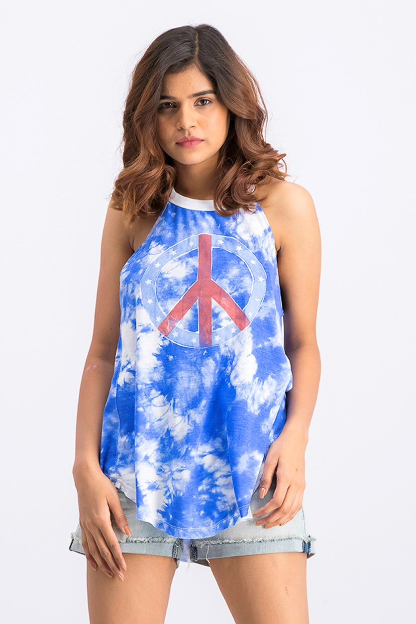 Women's Tie Dye Peace Graphic Tank Top, Blue Combo