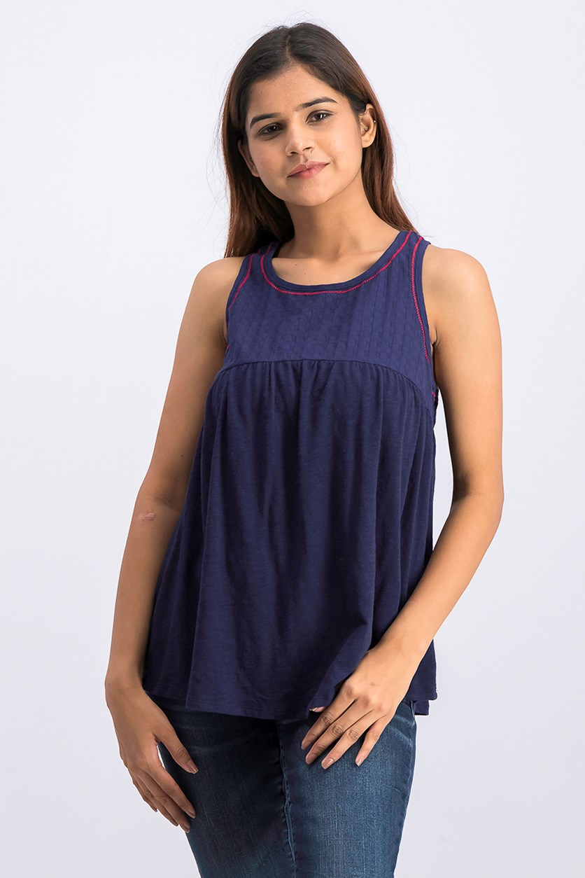 Women's Embroidered Knit Top, Navy