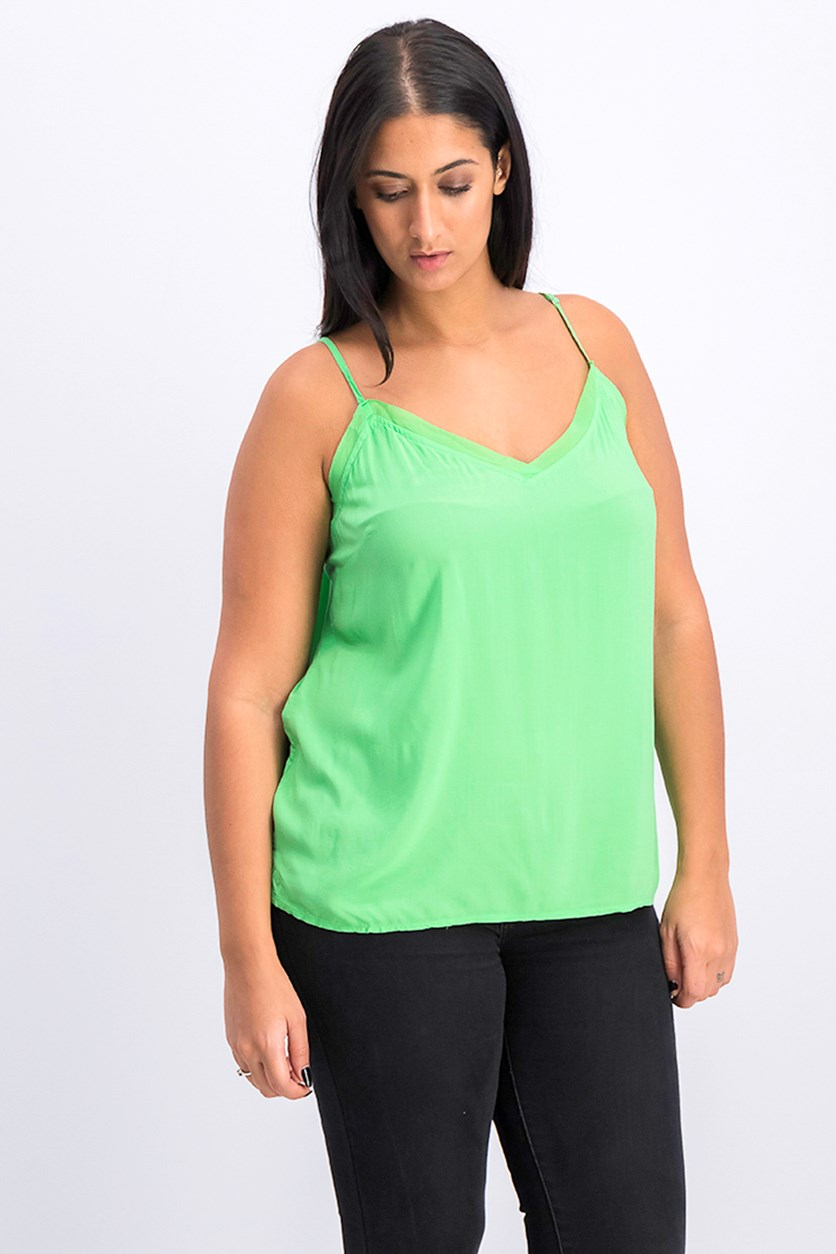 Women's Chiffon Trim Camisole, Green