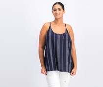 A New Day Women's Striped Linen Tie Back Camisole, Navy