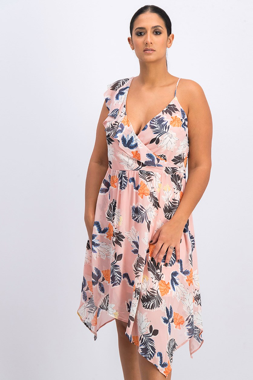 Women's Floral Print Wrap Dress, Peach