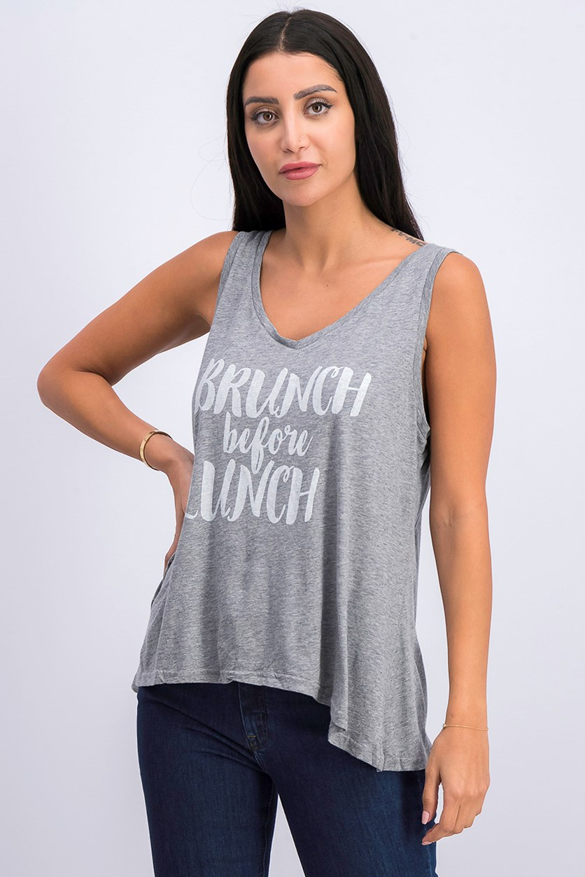 Women's Printed Tank Top, Drizzle Gray