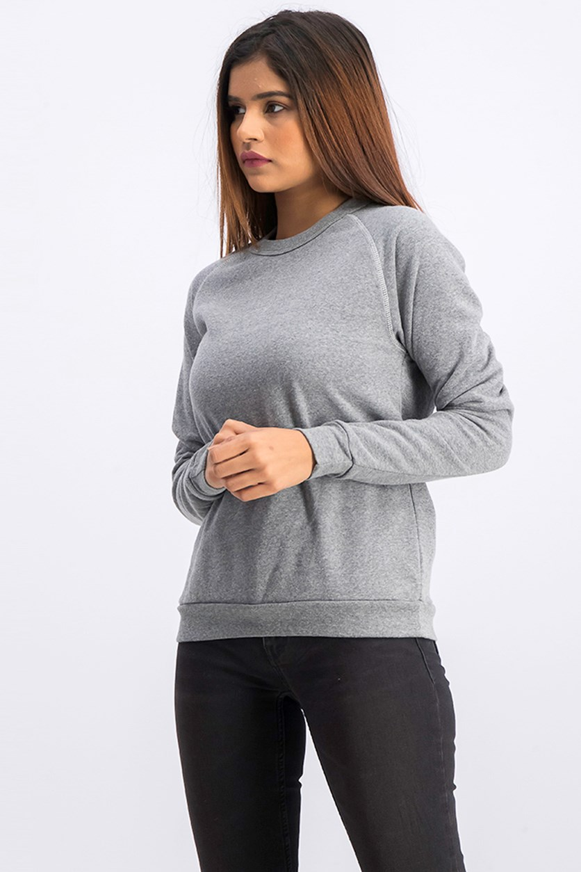 Women's Crewneck Long Sleeve Sweatshirt, Light Grey