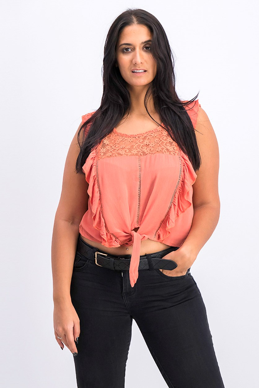 Women's Ruffle Bowtie Hem Top, Orange