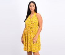 Xhilaration Women's Floral Print A Line Dress, Yellow