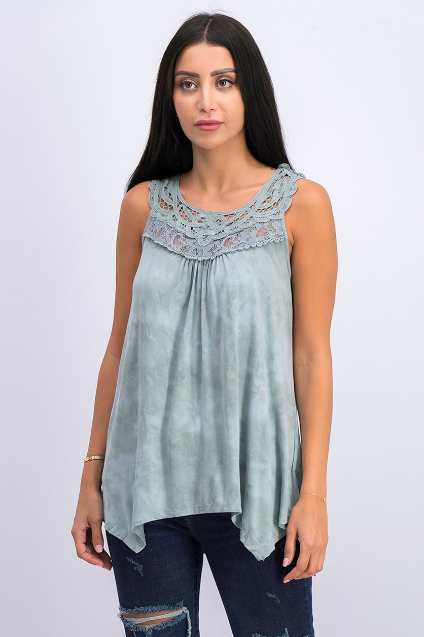 Women's Open Lace Wash Tank, Seafoam