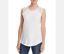 Women's Colorblock Sheer Tank Top, White/Shell/Pink