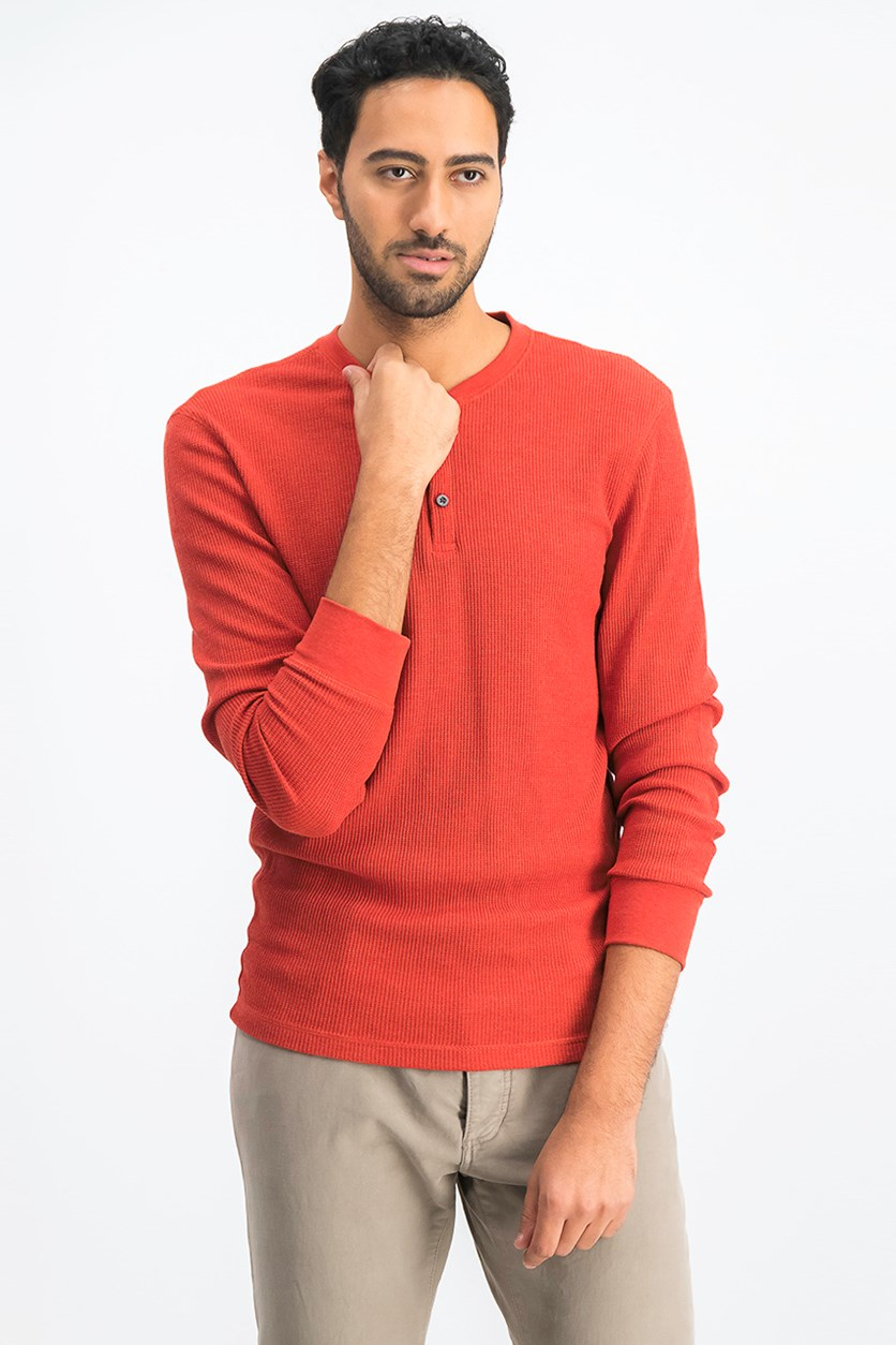 Mens Textured Henley Shirt, Spice