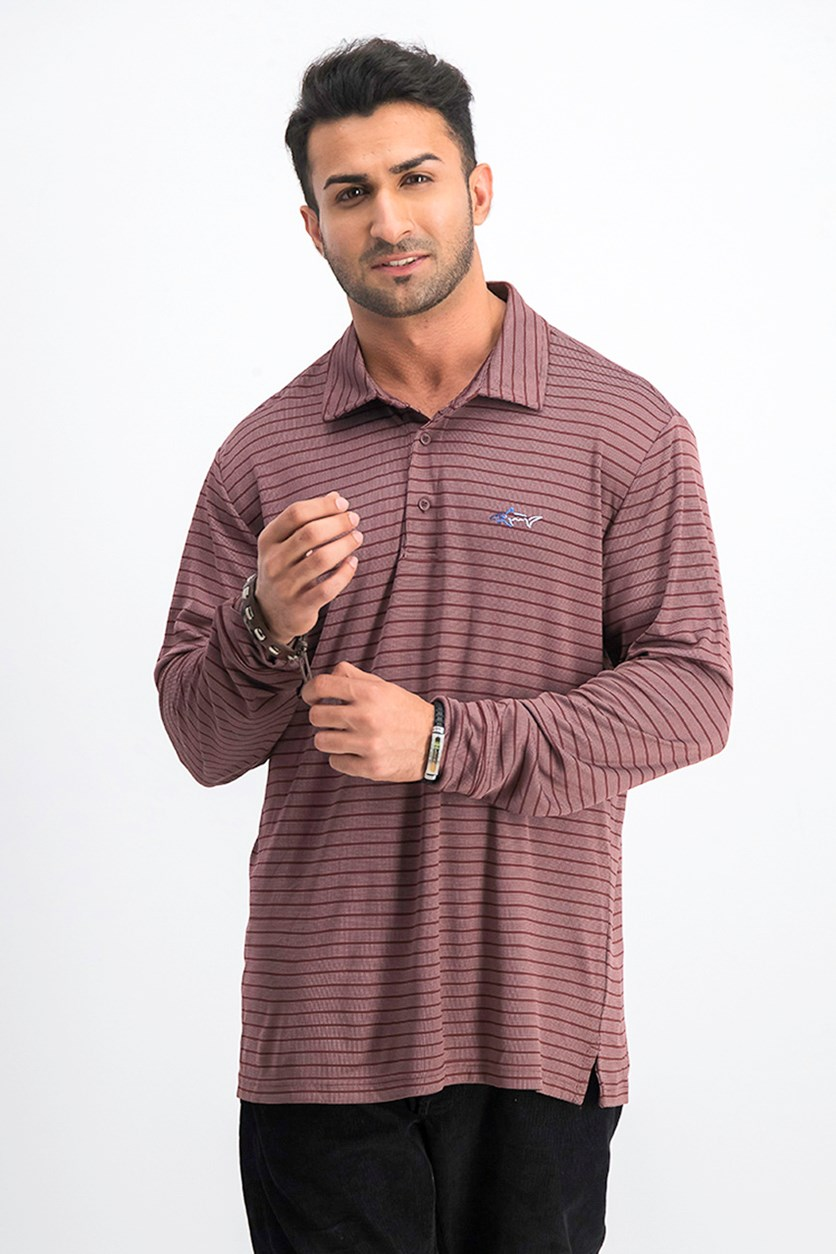 Men's Stripe Performance Polo, Port