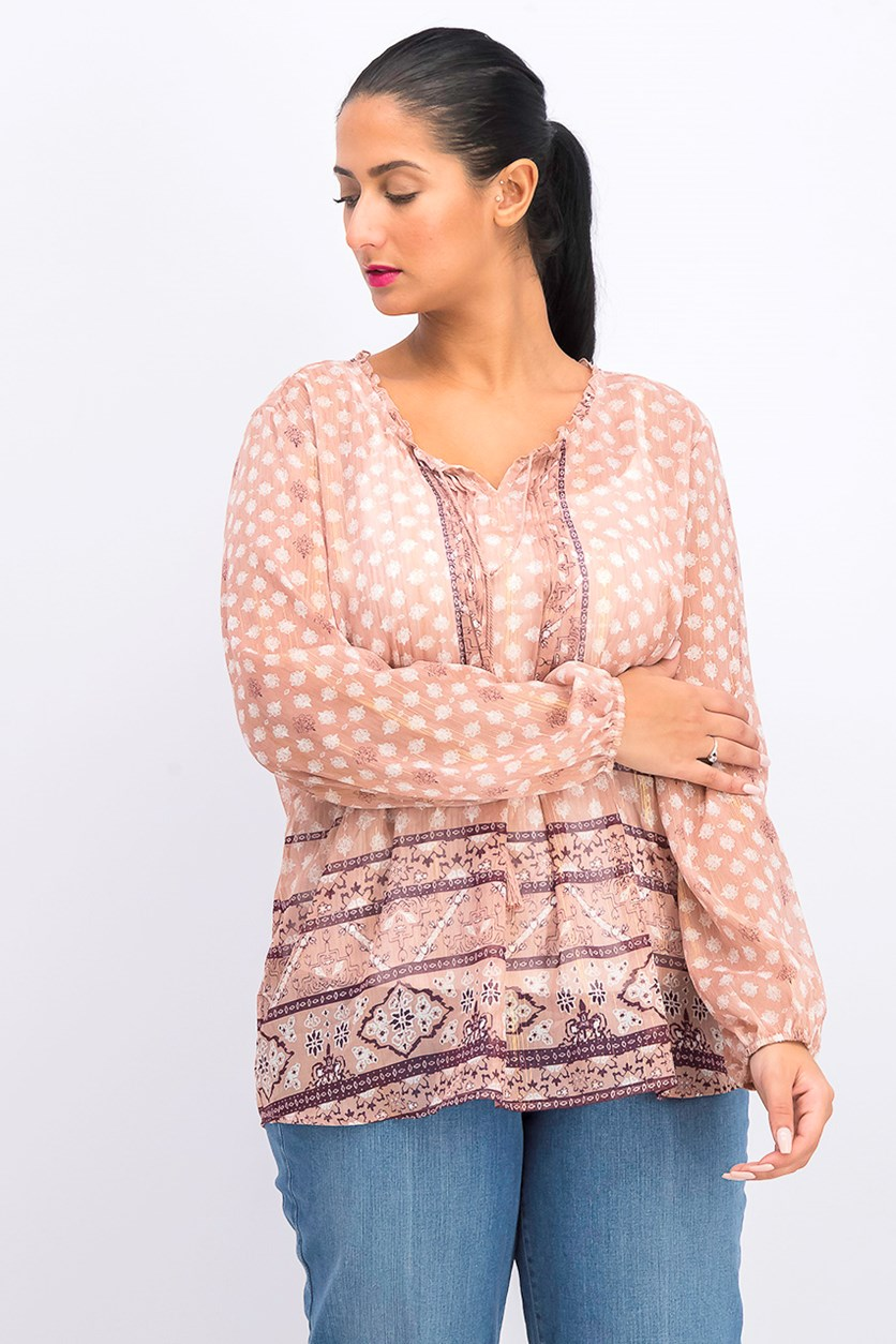 Printed Peasant Top, Hazel Blush