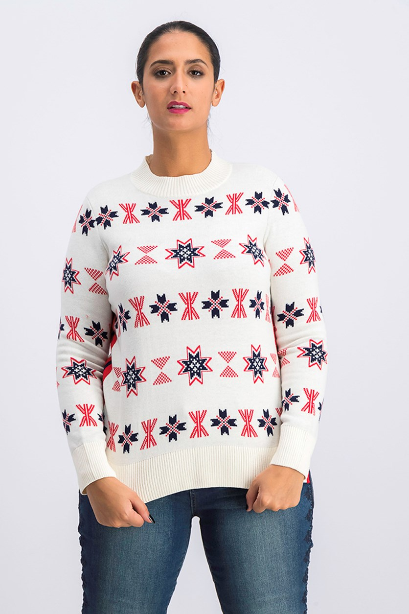 Women's Petite Large Snow flake Sweater Mock Neck, White