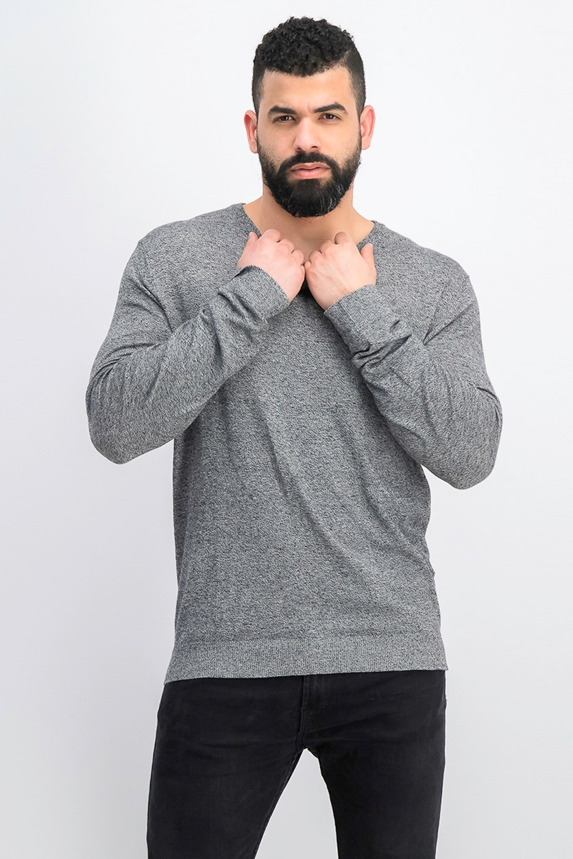 Men's Knit Pullover Sweater, Black Marled
