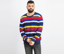 Men's Stripe Sweater, Blue/Red/yellow