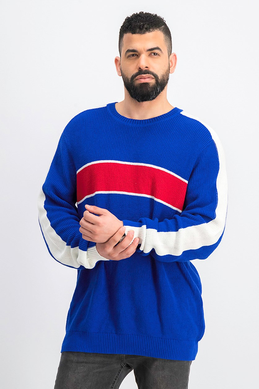 Mens Colorblocked Pullover Sweater, Blue