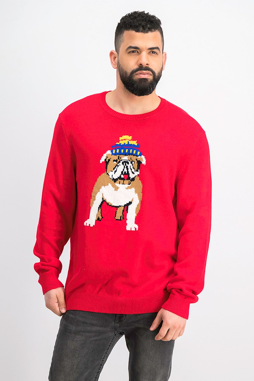 Men's Bulldog Graphic Sweater, Red