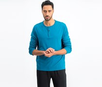 Men's Long Sleeve Soft Touch Stretch Henley, Electric Teal