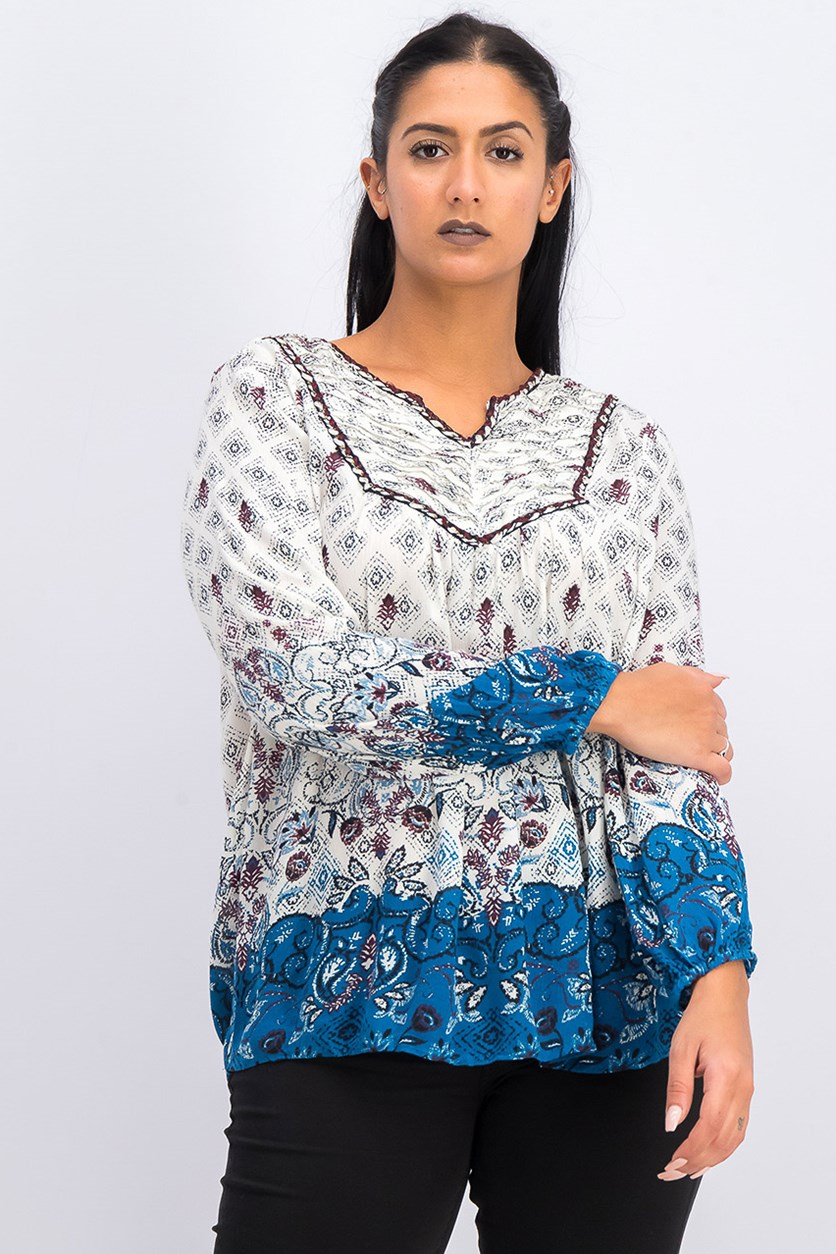 Petite Mixed-Print Peasant Top, Symphony Border