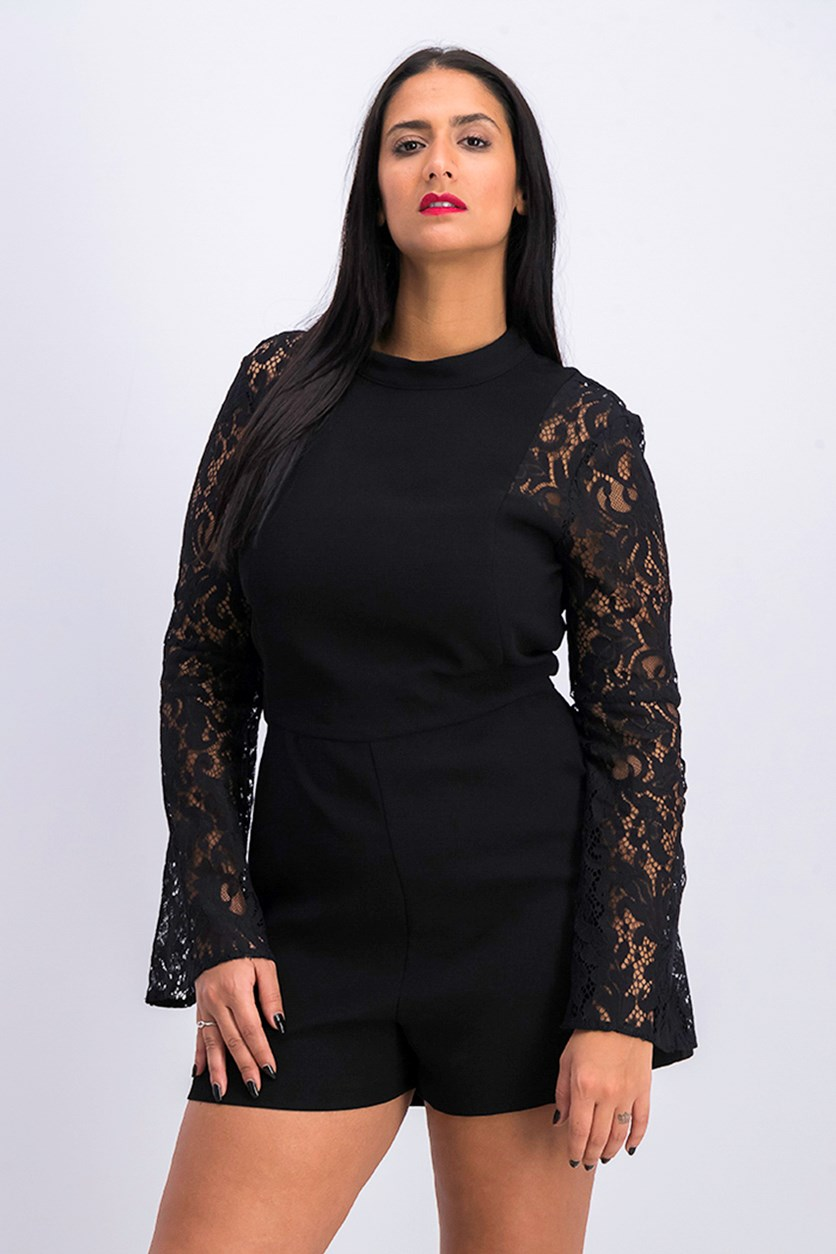 Lace-Sleeve Romper, Black