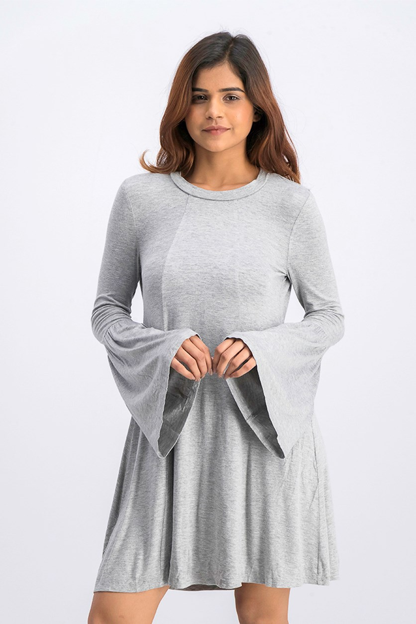 Women's Open-Back Dress, Heather Grey