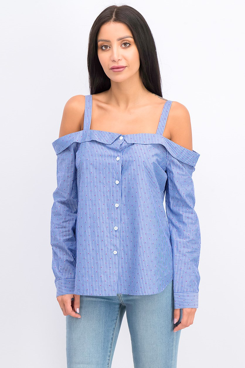 Off-The-Shoulder Striped Cotton Top, Blue Combo