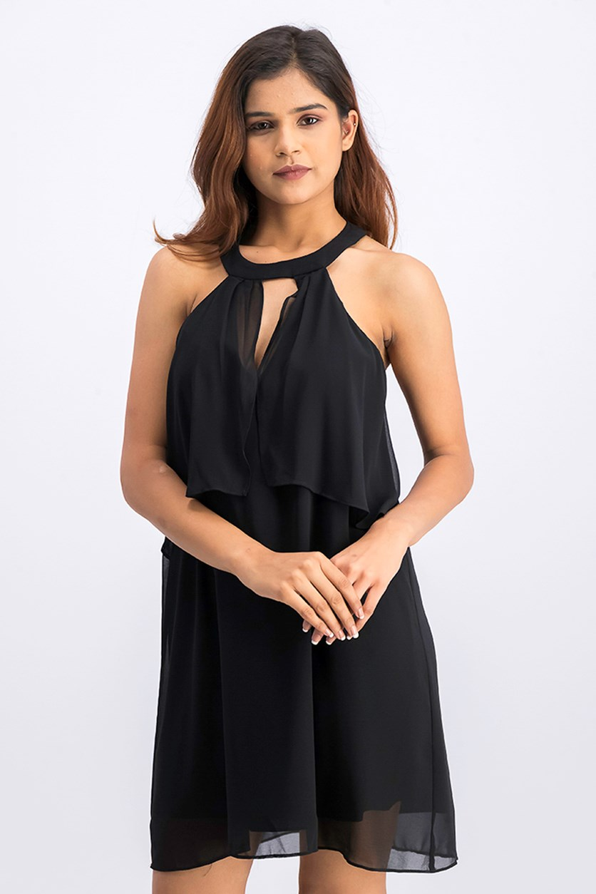 Women's Flounced Chiffon Shift Dress, Black