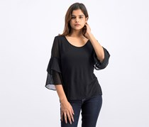 Tiered Bell Sleeve Top, Black